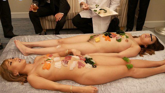 ซูชิเปลือย สาวญี่ปุ่นนอนเปลือยซูชิให้ไอ้แก่หัวงูกิน